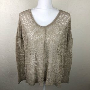 Free People Beige Open Knit Pullover B6
